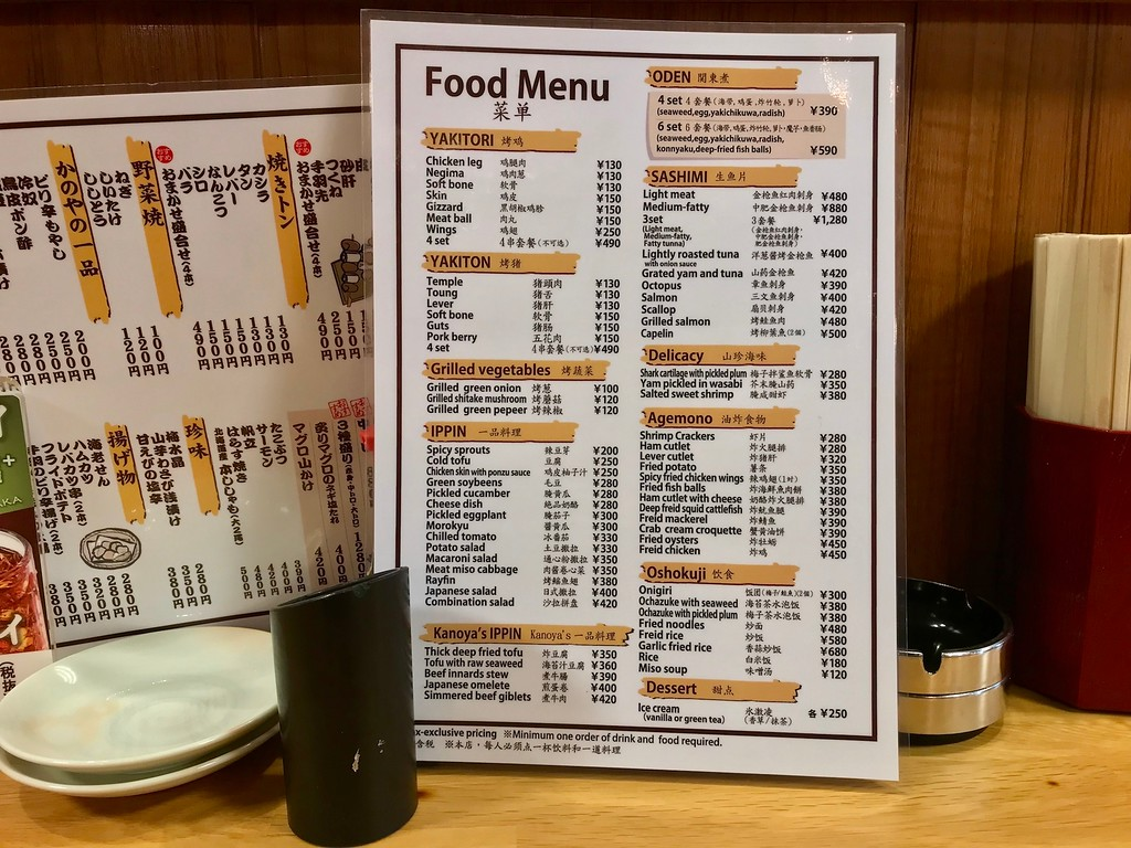 The English menu matches what's on the Japanese menu. Uncommon but welcome.