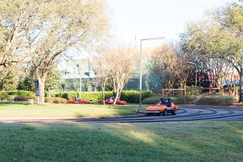 Tomorrowland Speedway from Back Path - Magic Kingdom Walt Disney World