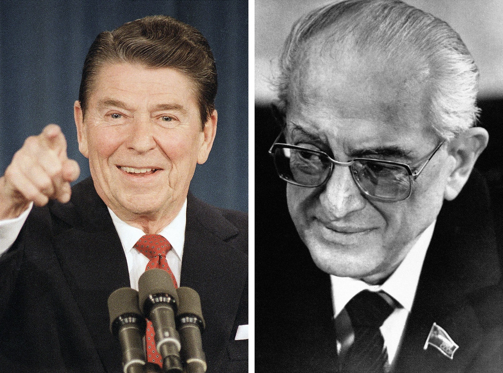 . 1983: Ronald Reagan and Yuri Andropov. Left, President Ronald Reagan gestures to reporters during a news conference in the Old Executive office building in Washington on Dec. 20, 1983. Left, Soviet leader Yuri V. Andropov smiles in Moscow on Tuesday, Jan. 11, 1983 during a meeting with Hans-Jochen Vogel, the West German Social Democrat candidate for chancellor.  (AP Photos)