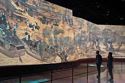 China Art Museum, Shanghai. Animation of Along the River during the Qingming Festival created for Expo 2010,   多媒体版清明上河图.