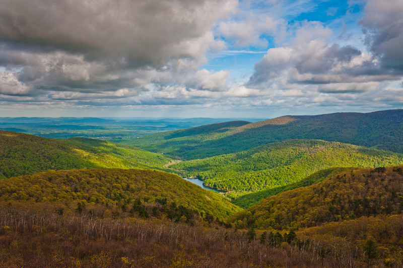 View of the Charlottesville Reservoir and Appalachians from Skyline Drive in Shenandoah National Park, Virginia.