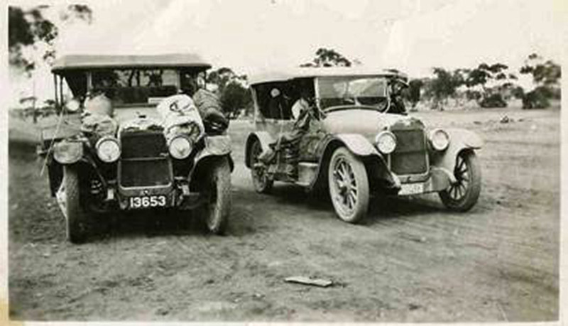 Types of cars that Wally Pendle would have been taking on the route north and south of the river from Mildura, Wentworth Renmark, Barmera, Overland Corner,  Morgan and Blanchetown on North side and then Mildura, Loxton, Kingston, Waikerie and across by punt to Morgan on the south side. (Image from the Pendle Family Collection)