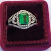 1.29ctw Emerald and Diamond Modified Halo Ring 0