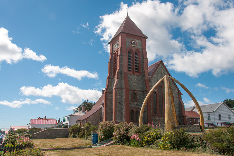 Whale bone arch and Christ Church Cathedral in Stanley, Falkland Islands