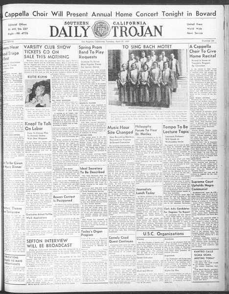 Daily Trojan, Vol. 28, No. 124, April 27, 1937