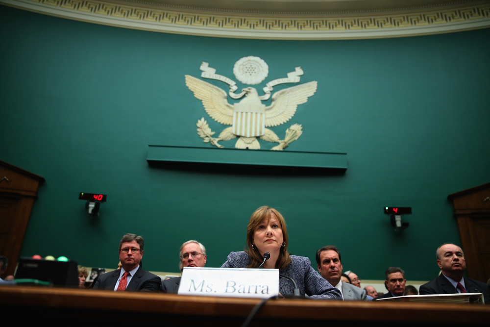 . General Motors Company CEO Mary Barra testifies during a House Energy and Commerce Committee hearing on Capitol Hill, on April 1, 2014 in Washington, DC. The committee is hearing testimony on a safety defect that\'s been linked to at least 13 deaths and has sparked a 2.6 million-vehicle recall. (Photo by Mark Wilson/Getty Images)