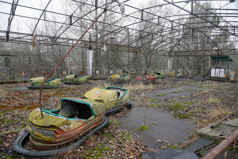 . A playground in the deserted town of Pripyat, Ukraine, some 3 kilometers (1.86 miles) from the Chernobyl nuclear power plant Ukraine, Tuesday, Nov. 27, 2012.  Workers on Tuesday raised the first section of a colossal arch-shaped structure that is planned to eventually cover the exploded reactor at the Chernobyl nuclear power station. Project officials on Tuesday hailed the raising as a significant step in a complex effort to liquidate the consequences of the world\'s worst nuclear accident, in 1986. (AP Photo/Efrem Lukatsky)