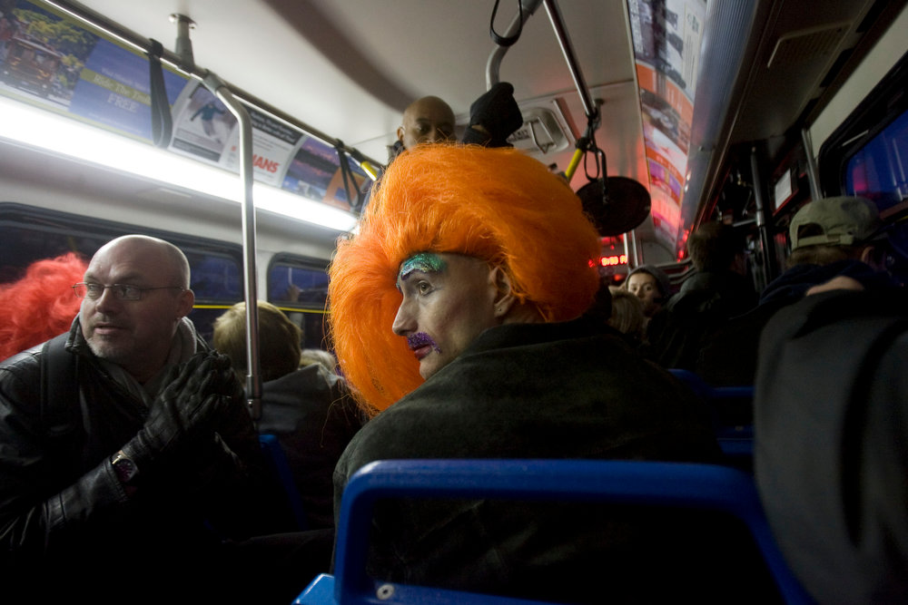 Description of . Kim Raff  |  The Salt Lake Tribune Ivonna Coxx, a drag queen with the Utah Cyber Sluts, rides a shuttle to Main Street during the Sundance Film Festival in Park City on January 19, 2013.