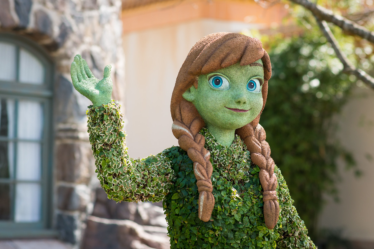 Anna from Frozen Topiary - Epcot Flower & Garden Festival 2016