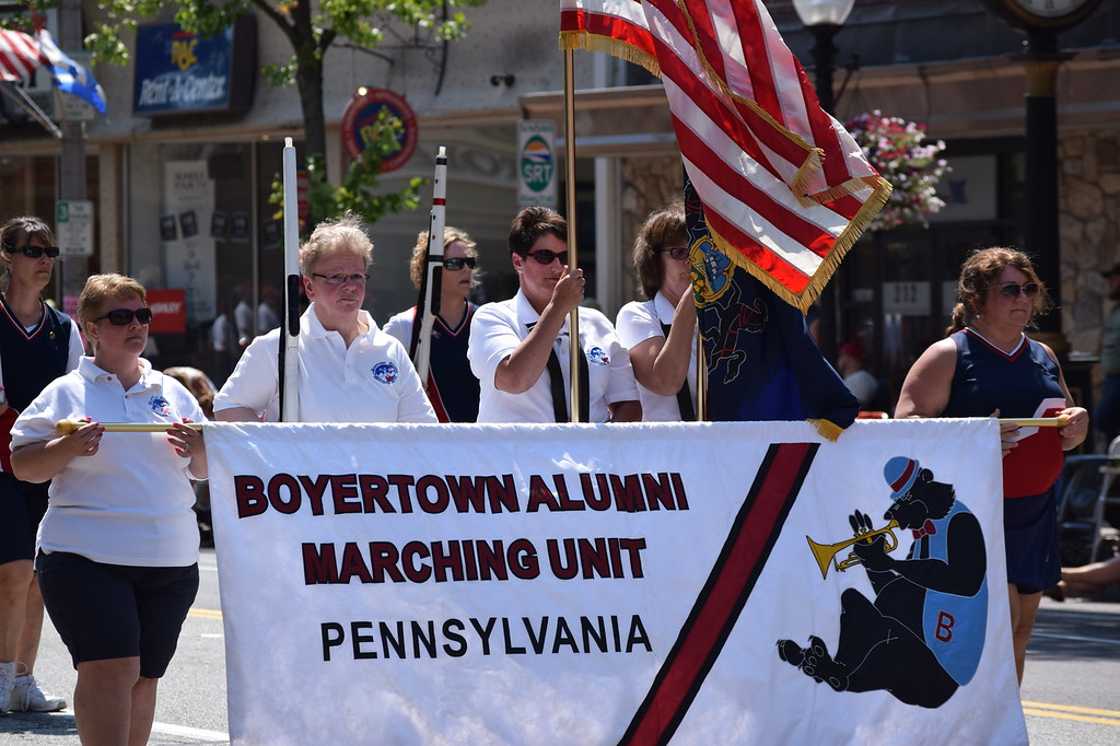 . The Boyertown Alumni Marching Band made an appearance Tuesday during the Fourth of July Parade.--Marian Dennis, Digital First Media