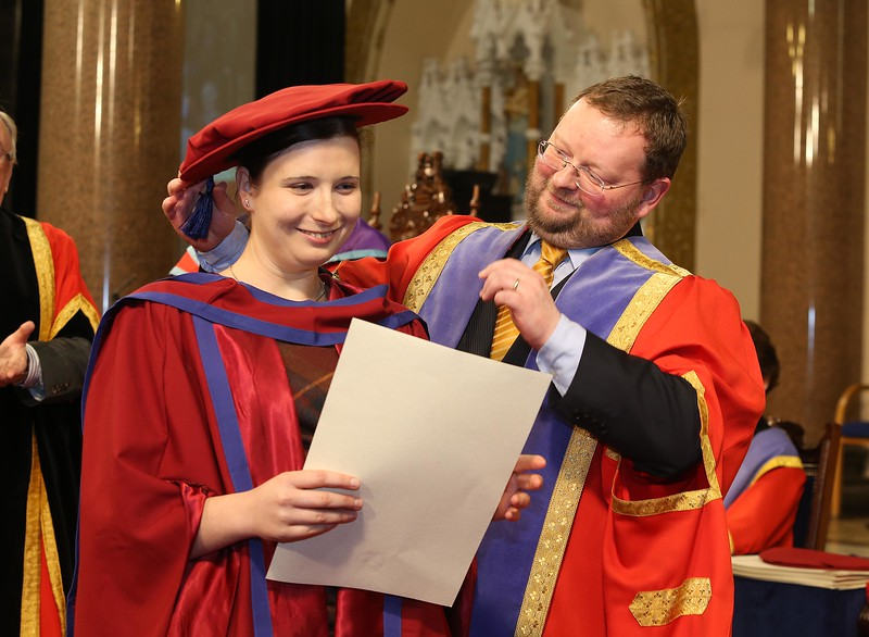 Pictured is Magdalena, Necpalova of Slovakia and Piltown, Kilkenny who was conferred a Doctor of Philosophy from Dr. Derek O'Byrne, Registrar of WIT. Picture: Patrick Browne.