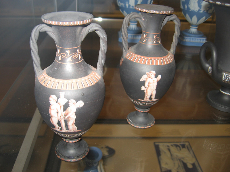 Painted black basalt vases, Wedgwood, circa 1775--The British Museum