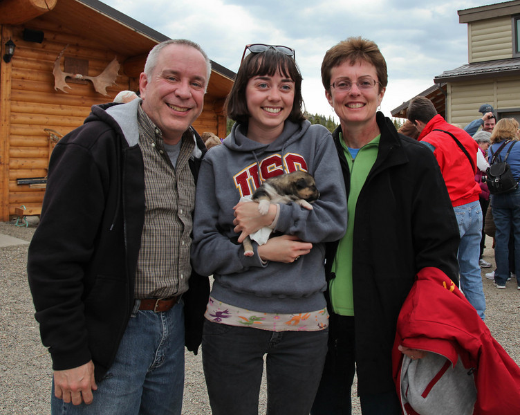 The three of us with one of Jeff King's two week old sled dogs.