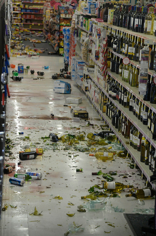 . A CVS pharmacy suffered major damage of glass bottles falling off onto the floor and braking after a earthquake with a magnitude of 5.1 struck near La Habra on Friday night, following an earlier 3.6 quake in the same area. The bigger quake was originally reported as magnitude 5.4 and struck at 9:09 p.m. PT. The first temblor hit about an hour before that. Caltech seismologists said the 5.1 quake was at a depth of around one mile and was followed by at least 30 aftershocks, two greater than magnitude 3.0. Fullerton, California, March 29,2013 Photo by Gene Blevins/LA Daily News