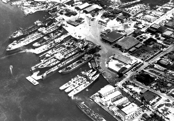 Aerial view of Gibbs Corporation shipyard during 1950s. Courtesy of State Archives of Florida, Florida Memory, http://floridamemory.com/items/show/142072
