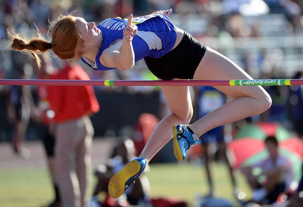 . San Dimas\' Hannah Nance competes in the high jump during the Arcadia Invitational track and field meet at Arcadia High School in Arcadia, Calif., on Friday, April 11, 2014.  (Keith Birmingham Pasadena Star-News)