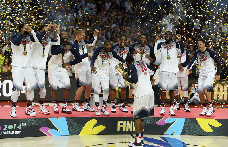 . Gold medallists US players celebrate on the podium after winning the 2014 FIBA World basketball championships final match USA vs Serbia at the Palacio de los Deportes in Madrid on September 14, 2014. USA won the match 129-92.  GERARD JULIEN/AFP/Getty Images