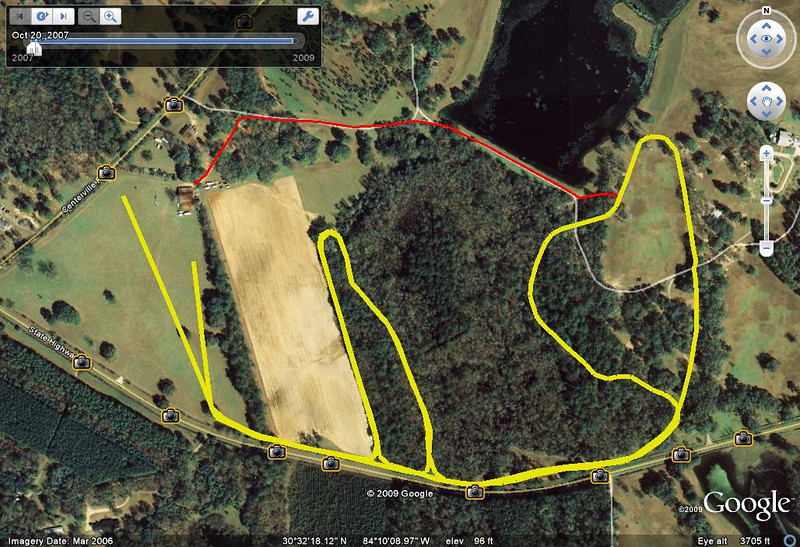 """5Km course tweaked yellow with GPS Visualizer, and North Connector (red) from the Barn across the Roberts Pond Levee to near the halfway point on the East Loop. It's a bit more direct if you cut straight across the north edge of the """"peanut hay field"""" toward the levee. That red line is about 800m long."""