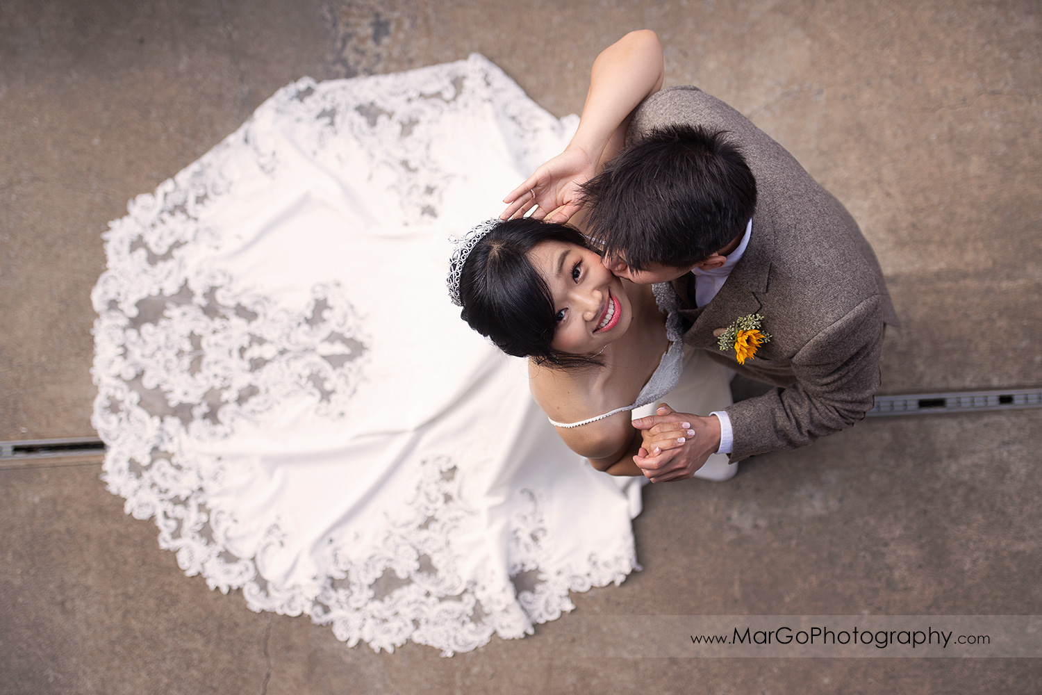 high-angle shot of bride and groom at Long Branch Saloon & Farms in Half Moon Bay