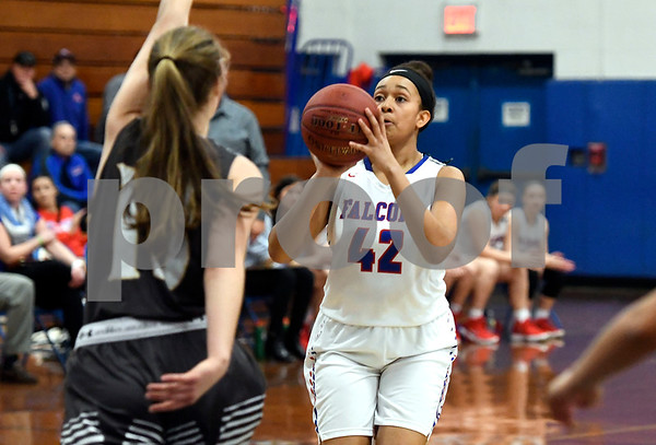 3/1/2018 Mike Orazzi | Staff St. Pauls Jade Udoh (42) during the Class M Second Round of the CIAC 2018 State Girls Basketball Tournament with Stonington in Bristol Thursday night.