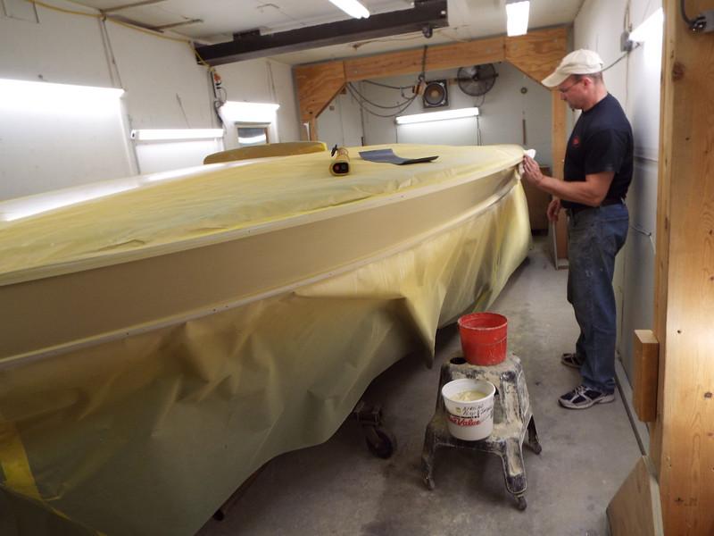 First coat of primer being sanded.