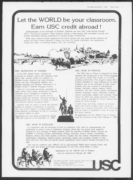 Daily Trojan, Vol. 100, No. 47, November 07, 1985