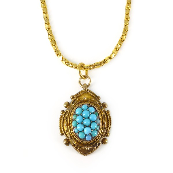 Antique Victorian Etruscan Style 15ct Gold Filled Turquoise Pendant Necklace