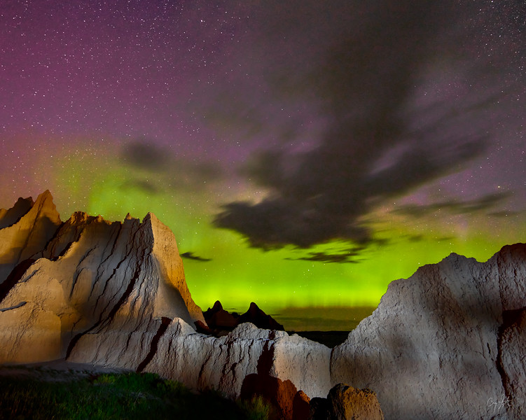 Badlands Northern Lights Composite PSD - 24 X 30 Canvas Wrap.jpg