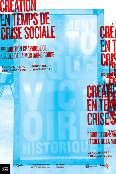 Affiche de l'exposition Création en temps de crise sociale réalisée par l'Atelier NAC