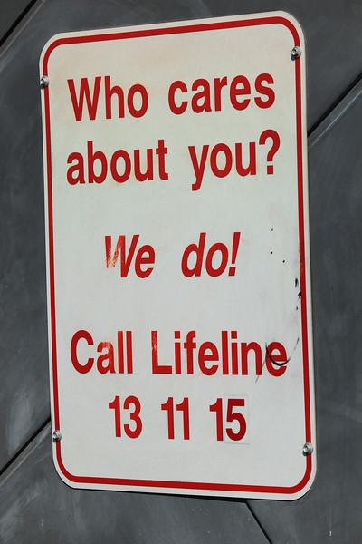 Australia, Queensland, Brisbane, Story Bridge, Anti Suicide Sign