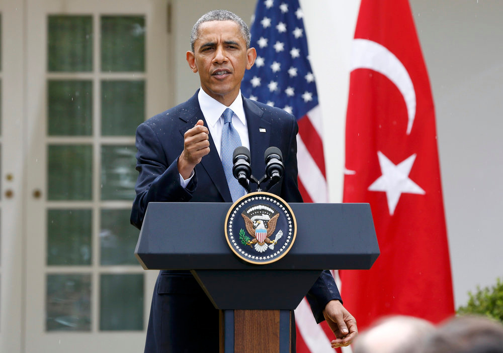 . U.S. President Barack Obama addresses a joint news conference with Turkish Prime Minister Recep Tayyip Erdogan in the White House Rose Garden in Washington, May 16, 2013. REUTERS/Jason Reed