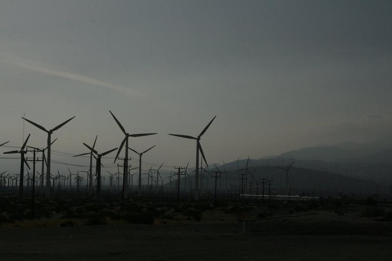 Wind turbines at Amtrak Station, Palm Springs, California