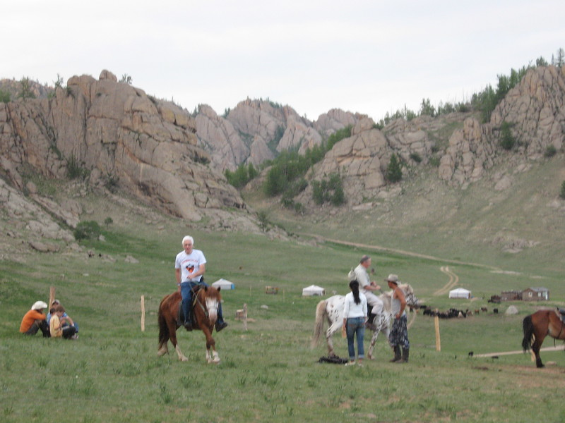 Bob and Jean riding Mongolian horses - Leslie Rowley