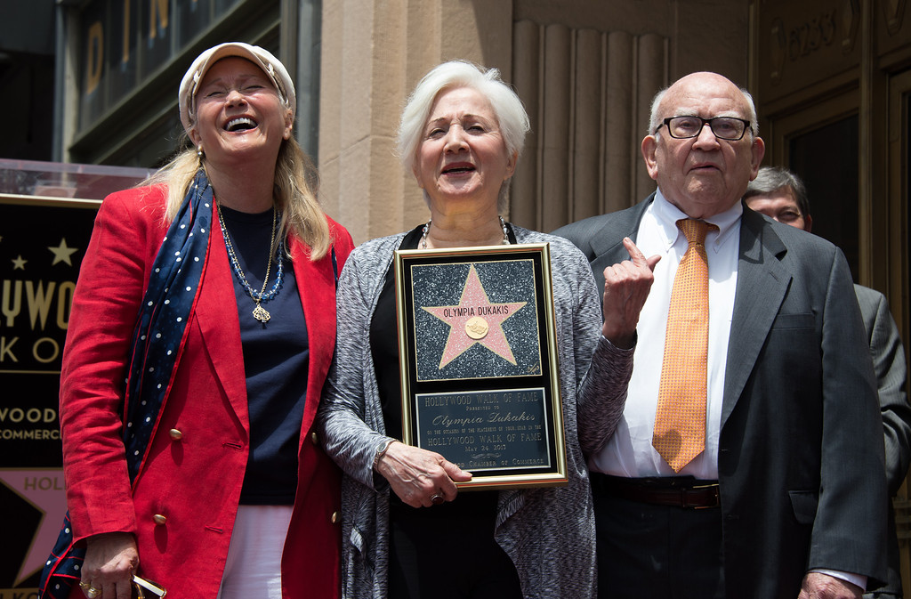 . Actors Olympia Dukakis (C), Diane Ladd (L), Ed Asner celebrate as Dukakis is honored with the 2,498th Star on The Hollywood Walk Of Fame on May 24, 2013 in Hollywood, California. (JOE KLAMAR/AFP/Getty Images)