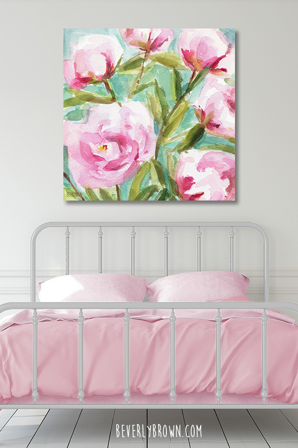 Cozy Light Grey Farmhouse Feminine Bedroom with Pink Bedding & Peony Artwork