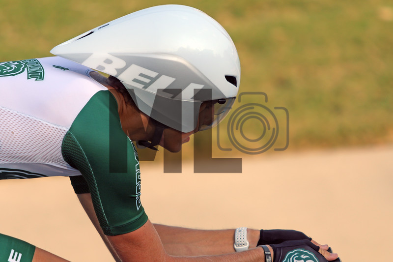 Jaden Grimes of Piedmont College races at the USA Cycling Collegiate Track National Championships at Giordana Velodrome in Rock Hill, S.C., on Friday, Sept. 13, 2019.