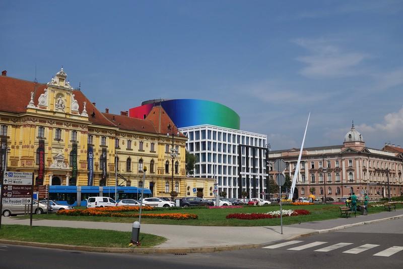 Zagreb, Meštrović Museum,left, and School of Music, center