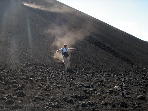 Ending the decent of the Cerro Negro Volcano