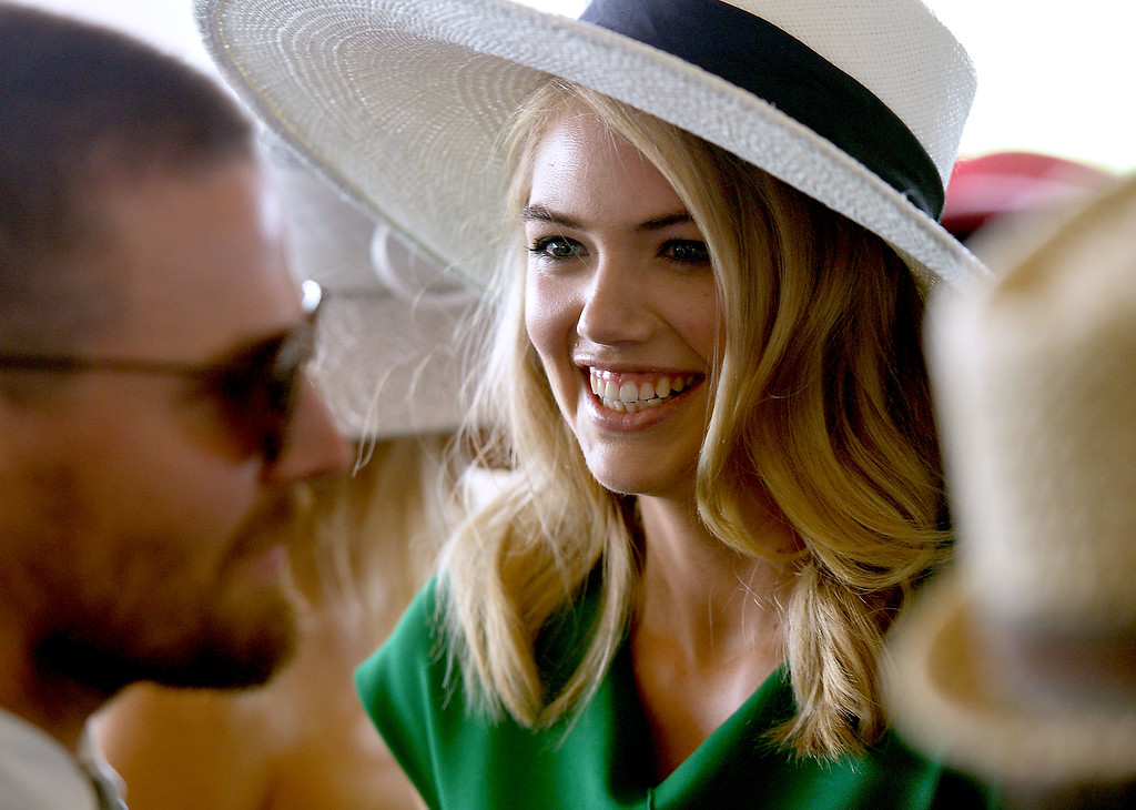 . Model Kate Upton is seen around the 142nd Kentucky Derby at Churchill Downs on May 7, 2016 in Louisville, Kentucky.  (Photo by Gustavo Caballero/Getty Images for Churchill Downs)