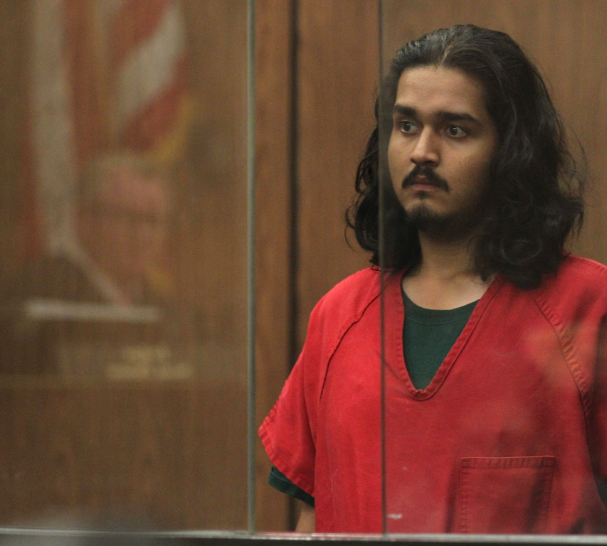 . Mark Estrada, 21, appears in court for an arraignment hearing at the Hayward Hall of Justice in Hayward, Calif., on Friday, July 24, 2015. Estrada is accused of fatally shooting Hayward Police Sgt. Scott Lunger. (Anda Chu/Bay Area News Group)