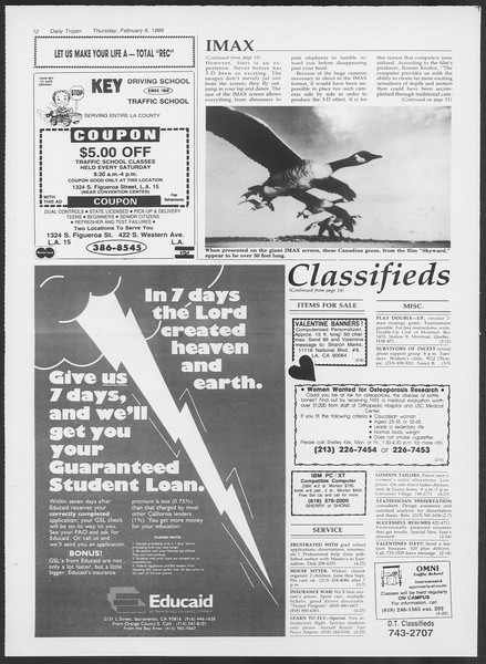Daily Trojan, Vol. 100, No. 20, February 06, 1986