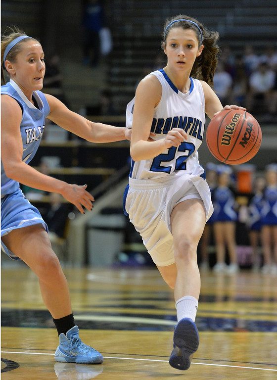 . Broomfield\'s Brenna Chase dribbles the ball down court  against Valor Christian\' during the final four 4A state game at Coors Event Center. (David R. Jennings/Broomfield Enterprise)