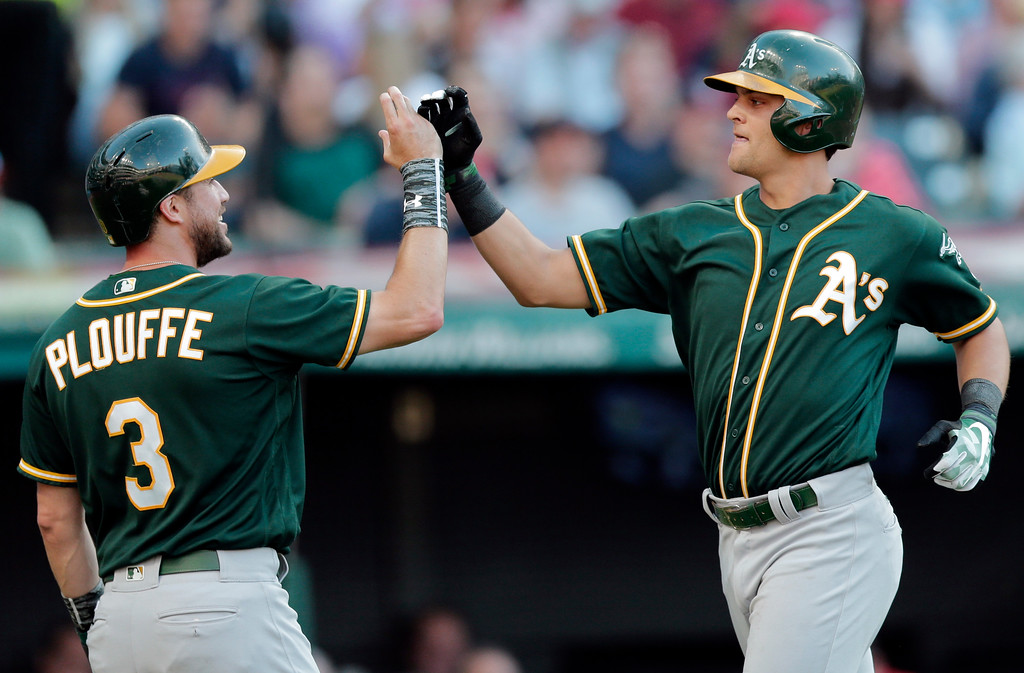 . RETRANSMISSION TO CORRECT TO TW0-RUN HOME RUN - Oakland Athletics\' Chad Pinder, right, is congratulated by Trevor Plouffe after Pinder hit a two-run home run off Cleveland Indians starting pitcher Mike Clevinger in the fifth inning of a baseball game, Wednesday, May 31, 2017, in Cleveland. (AP Photo/Tony Dejak)