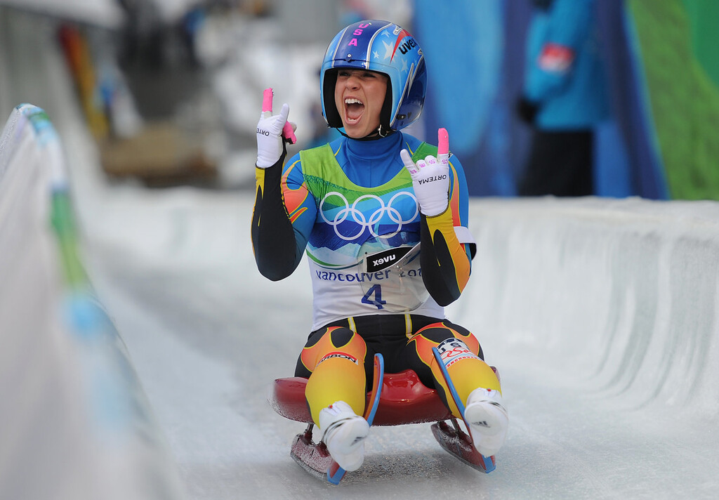 . USA\'s Megan Sweeney reacts  during the women\'s Luge Singles final at Whistler Sliding Center on February 16, 2010 during the Vancouver Winter Olympics.  AFP PHOTO / OLIVER LANG
