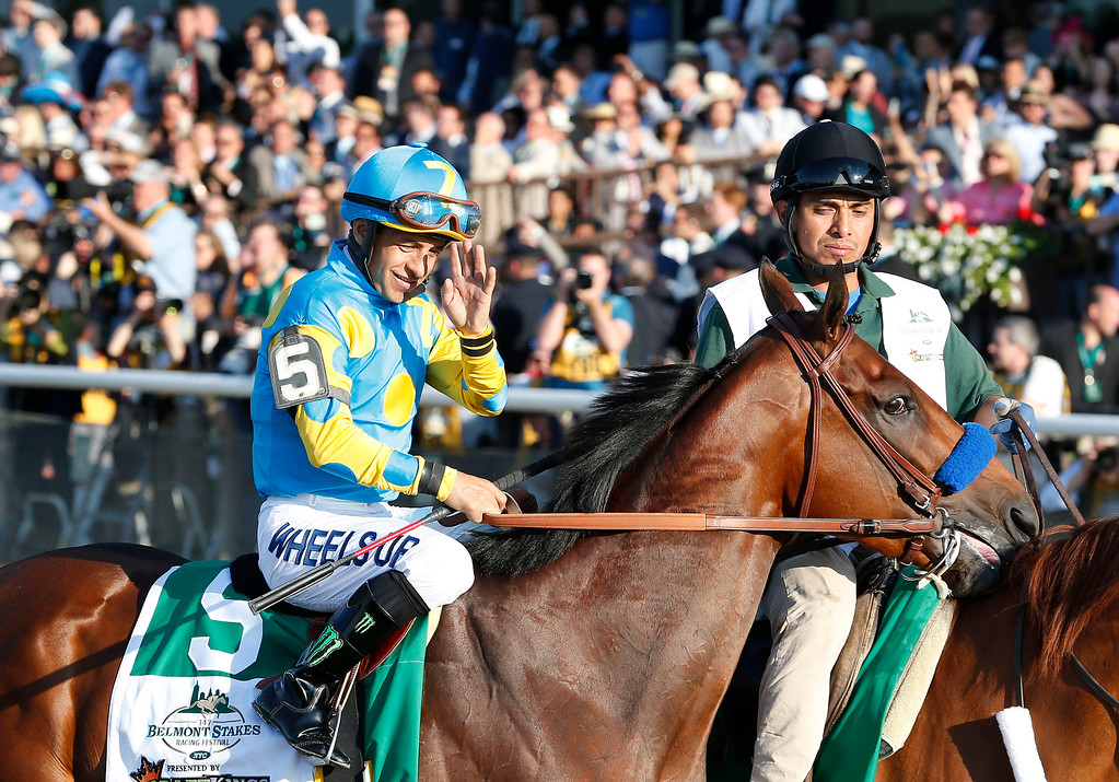 . American Pharoah (5) with Victor Espinoza up parades to the starting gate before the 147th running of the Belmont Stakes horse race at Belmont Park, Saturday, June 6, 2015, in Elmont, N.Y. (AP Photo/Julio Cortez)