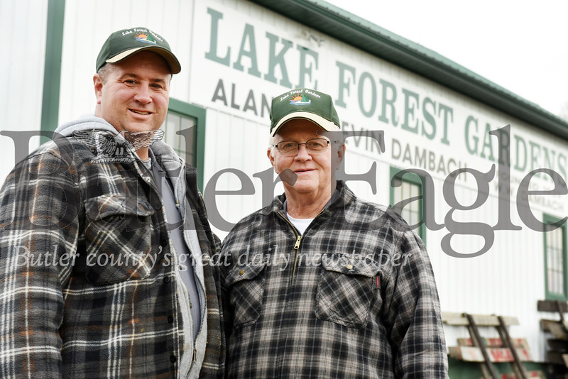 Harold Aughton/Butler Eagle: (Left - right) Kevin (son) and Alan Dambach of Lake Forrest Gardens