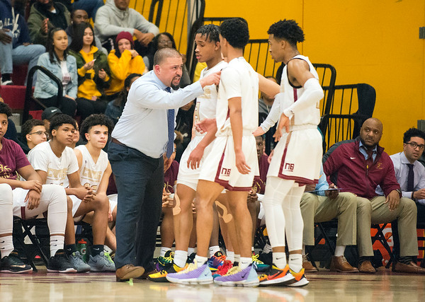 02/10/20 Wesley Bunnell | StaffrrNew Britain boys basketball lost at home to #1 Windsor on Monday night. Head Coach Roberto Mercado during a time out.