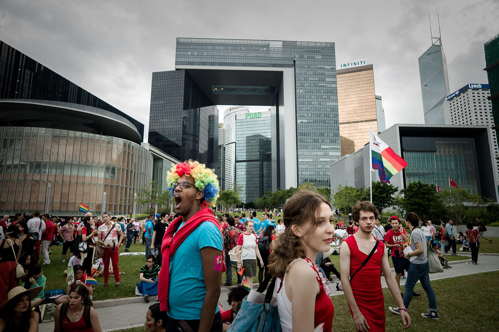 . A participant yawns in front of the government buildings during the gay pride parade in Hong Kong on November 9, 2013. Despite its reputation as an international financial hub, critics say Hong Kong remains a conservative city when it comes to gay rights, lacking protection for the sexual minority group despite having decriminalised homosexuality in 1991. PHILIPPE LOPEZ/AFP/Getty Images