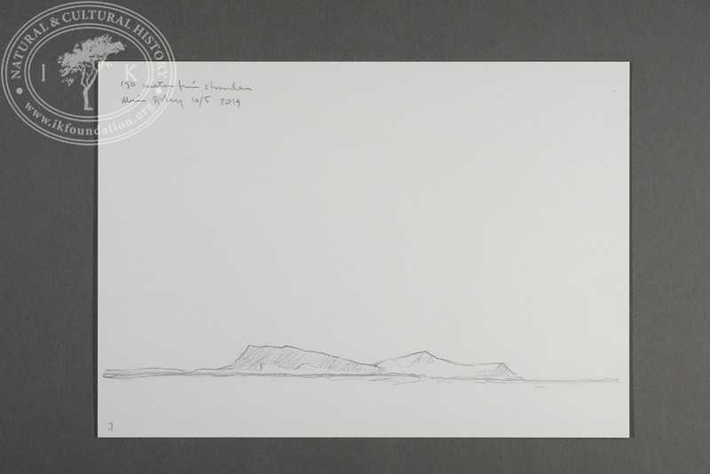 """Salfjellet at Prins Karls Forland drawn from the zodiac at 150 meters west of the beach at Levinhamna   10.5.2019   """"I want to convey what I see with immediacy and simplicity to make the viewer feel present on the Arctic scene.""""   Måns Sjöberg"""