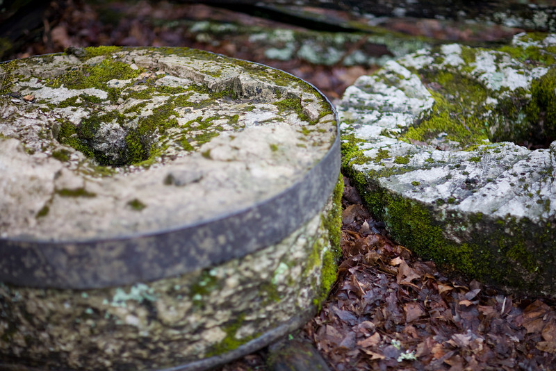 Old grind wheels at Cable Mill in Cades Cove.